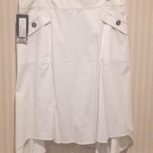 White cotton flared skirt